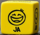 Yellow cube smiley face saying Ja