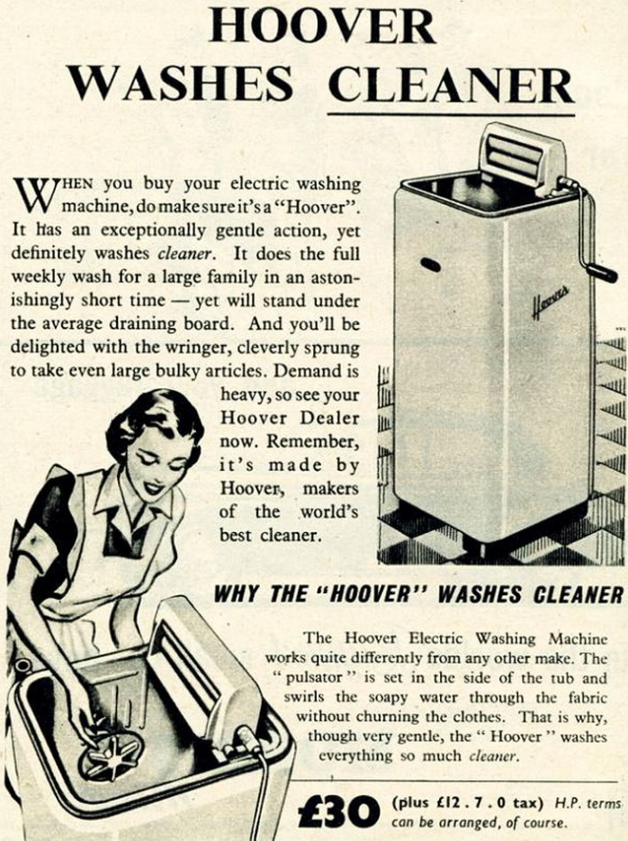 Advertisement from the 1950s for a Hoover washing machine.